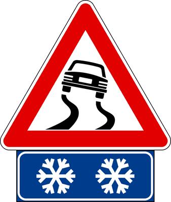 cartello stradale rischio ghiaccio