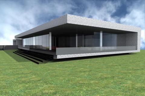il rendering del nuovo edificio scolastico ad un unico piano