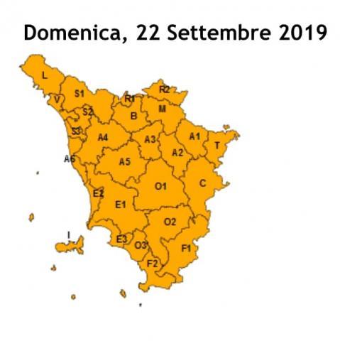 livello arancio su tutta la Toscana
