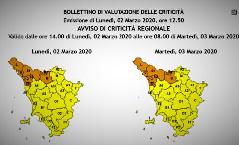 le zone della Toscana con i tipi di allerta previsti per il 2 e 3 marzo