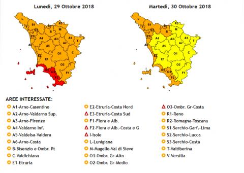 le cartine del Cfr con il dettaglio delle zone di allerta in Toscana