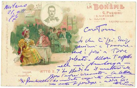 Epistolario Giacomo Puccini: una cartolina