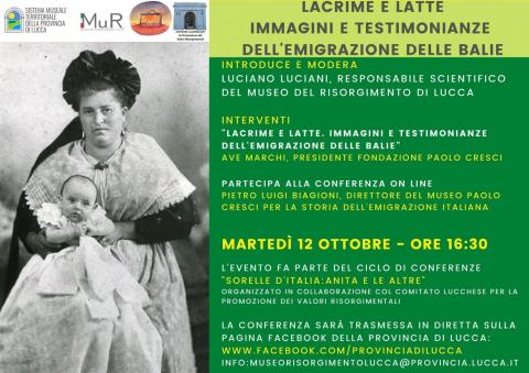 Locandina della conferenza on line di martedì 12 ottobre