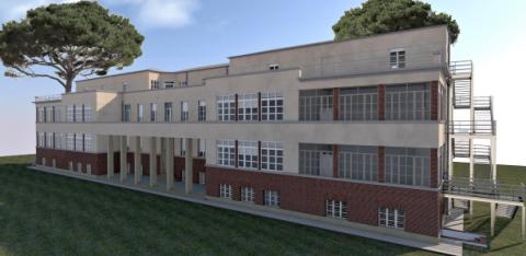 il rendering di come sarà il nuovo Istituto Marconi di Viareggio