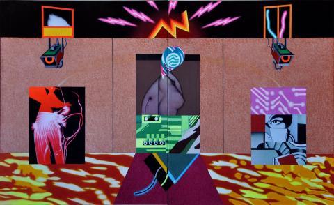"""Mostra intitolata """"Space Ballet"""",  titolo dell' opera dittico, di misure 110 cm x 180 cm"""