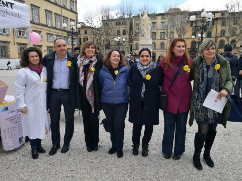 Punto informativo durante la visita del Presidente della Provincia Luca Menesini