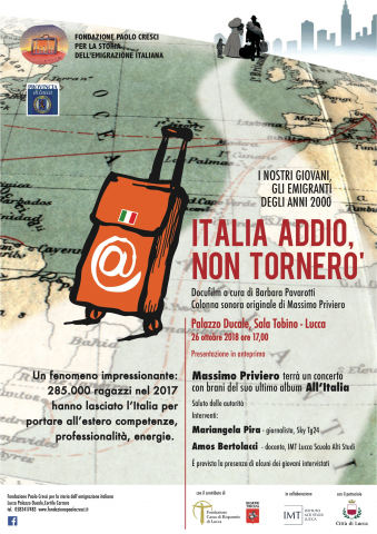 """Locandina dell'evento di presentazione del docufilm """"Italia addio, non tornerò"""""""