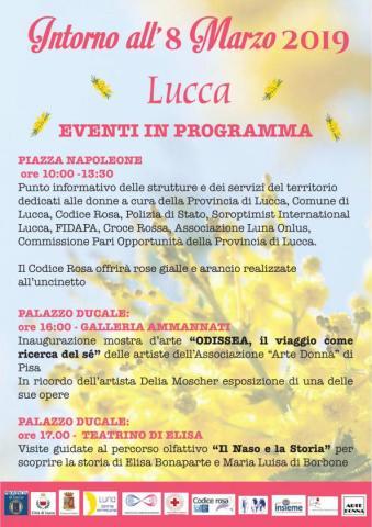 la locandina di alcuni eventi dell'8 marzo a Lucca
