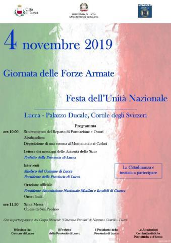 La locandina delle celebrazioni di lunedì 4 novembre 2019