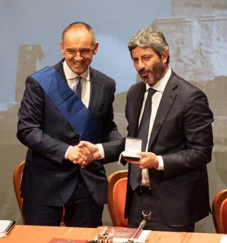 Il presidente Menesini con il presidente della Camera Roberto Fico