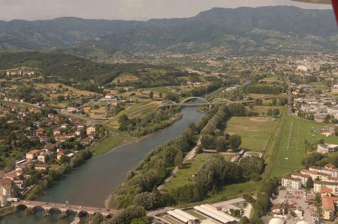 Il rendering del nuovo ponte sul Serchio a Lucca