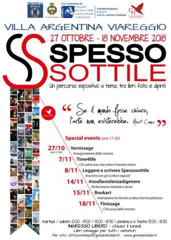 """Locandina della mostra """"SpessoSottile"""" ed eventi correlati"""