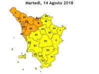 la cartina della Toscana con le zone di allerta