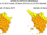 la mappa dell'allerta in Toscana
