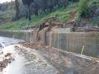 Una dele frane causate dalle forti piogge