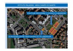Strutture provvisorie presso area dell'ex ospedale campo di marte