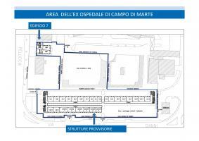 Planimetria delle strutture provvisorie presso area ex ospedale campo di marte