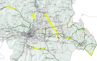 La mappa dei lavori sulla Piana di Lucca. In giallo le strade oggetti di lavori