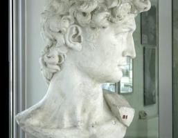 Michelangelo Buonarroti, David, 1501-1504, calco in gesso novecentesco della testa della statua, Pietrasanta, Liceo Artistico Stagio Stagi