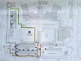 la piantina con la sistemazione dei moduli prefabbricati al CDM
