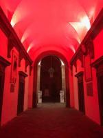 Ingresso Palazzo Ducale illuminato per Campagna Fiocco Bianco 2017