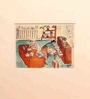 Disegno intitolato: La lista degli averi, acquerelli, 7/01/1943, 21,5 X 15,5 cm