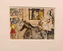 Disegno intitolato: L'arrivo della commissione della croce rossa internazionale, penna inchiostro e acquerelli, 1944, 24 X 16,4 cm