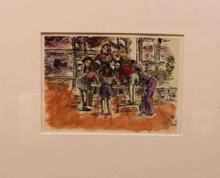 Disegno intitolato: L'arrivo di un pacco, 11/07/1943, penna, inchiostro e acquerelli, 21 X 14,7 c.m.