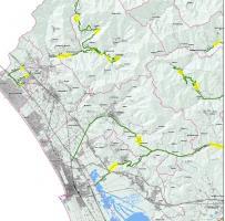 Evidenziati in giallo i tratti che saranno asfaltato