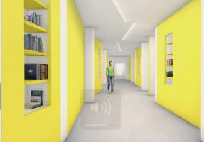 un rendering degli interni con i corridoi e l'accesso alle aule