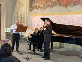 Palazzo Ducale fotografia di Mark Messenger con Maria Tarasewicz e Alberto Bologni del Royal College of Music (Lucca Classica Music Festival)