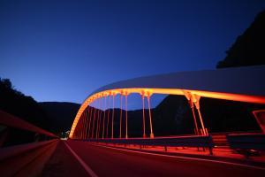 Il ponte di Rivangaio color arancio