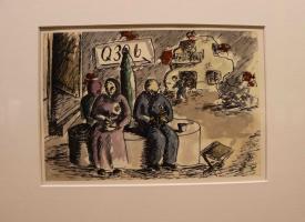 Disegno intitolato: Q306, penna e acquerelli