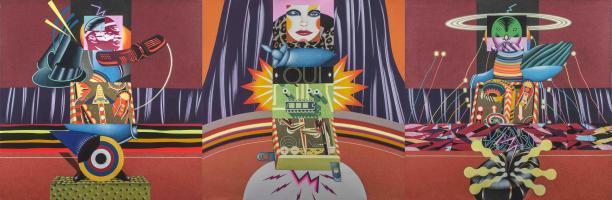 """Mostra intitolata """"Space Ballet"""",  titolo dell' opera Trittico, di misure 120 cm x 360 cm"""