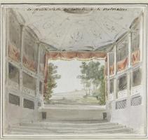 Un dipinto che ricostruisce il teatro di Elisa Bonaparte Baciocchi